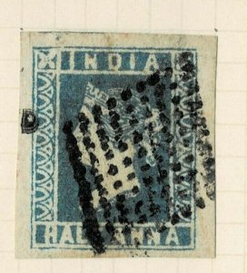 INDIA- 1854- 1/2A  FRESH AND RICH COLOR FINE USED dia 1st