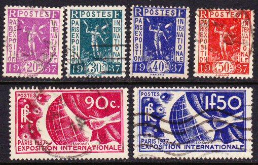 France #315-20 used cpl 1937 Paris expo