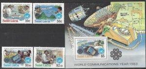 St. Lucia  607-11  MNH  UN World Communications Year 1983