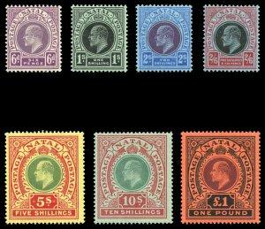 Natal 1908 KEVII complete set of seven VFM. SG 165-171. Sc 110-116.