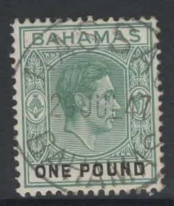 BAHAMAS SG157b 1944 £1 GREY-GREEN & BLACK ORD PAPER FINE USED