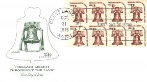 US 1595c Liberty Bell Booklet Pane of Eight Artmaster U/A FDC