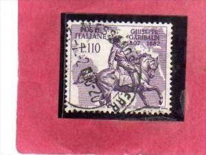 ITALIA REPUBBLICA ITALY REPUBLIC 1957 GARIBALDI LIRE 110 USATO USED OBLITERE´