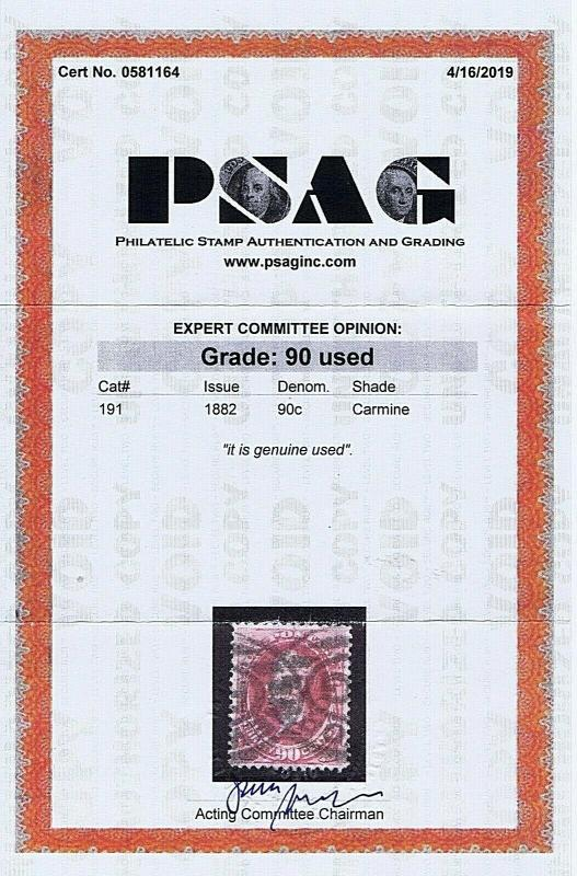 SC# 191 USED 90 CENT, PERRY, 1882,  2019 PSAG CERT GRADED XF, HIGH CAT VALUE