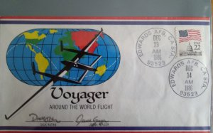 Around the world cover signed by the pilots on arrival, plus sheet of 50 stamp