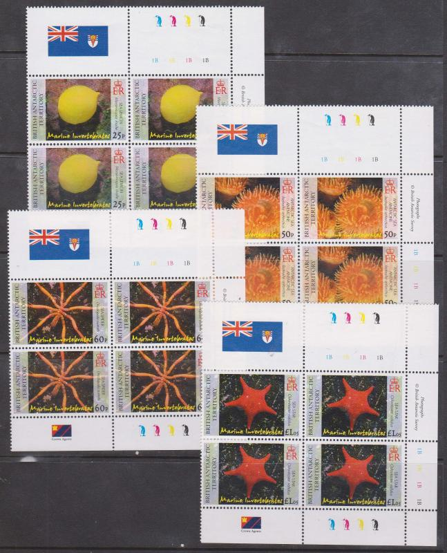 B.A.T. Scott #382-5 Complete Mint NH Set of Four Stamps - Invertebrates