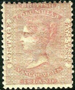 BRITISH COLUMBIA & VANCOUVER ISLAND-1860 2½d Pale Reddish Rose.  Mounted  Sg 3