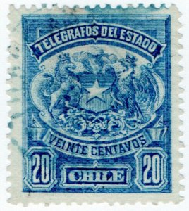 (I.B) Chile Telegraphs : 20c Blue (small format)