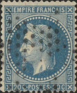 FRANCE - Yv.29B 20c bleu (type II) ob. étoile muette - léger pli d'angle