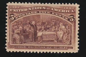 US 234 5c Columbian Exposition Mint Fine OG LH SCV $50