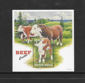 NORFOLK ISLAND - #616-BEEF CATTLE S/S  MNH