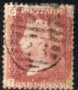 1876 Sg 43 1d rose-red 'TG' Plate 190 with London Duplex Cancel Fine Used