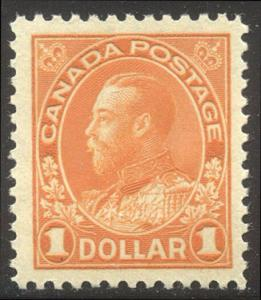 CANADA #122 CHOICE Mint XF NH - 1923 $1.00 Admiral