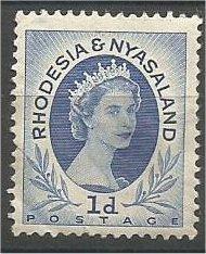 RHODESIA & NYASALAND, 1954, used 1p, Queen Elizabeth II, Scott 142