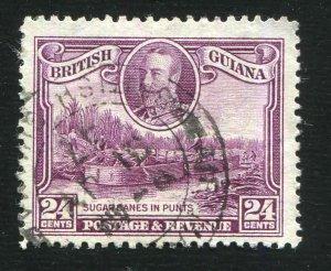British Guiana Scott # 216 24¢ George V Sugar Cane  VFU  CDS