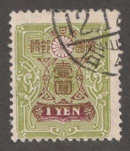 Japan stamp, Scott#125, used,  P13x13.5, yellow/green, postmark, #J125
