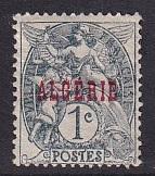Algeria  #1  used  1924  overprint   1c