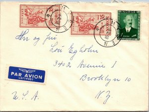 Mysen Norway > Brooklyn NY 1958 airmail cover Norge lung association cinderella
