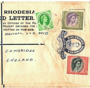 RHODESIA Cover REGISTERED KGVI STATIONERY Mixed Reign 1959 QEII HIGH VALUES EB87