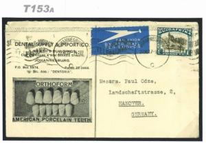 T153a 1927 South Africa DENTISTRY ADVERT Cover *Porcelain Teeth*Vignette Germany