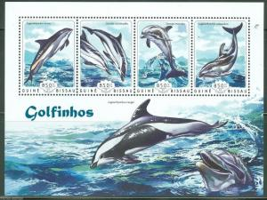 Guinea-Bissau MNH S/S Dolphins Marine Life 2014 4 Stamps