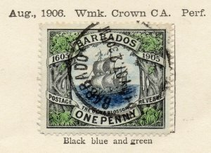 Barbados 1906 Early Issue Fine Used 1d. NW-114682