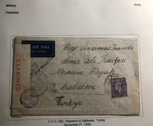 1942 Palestine British Field Post Airmail Censored Cover To Balikeser Turkey