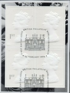 1999 Sg 2077l (1st) grey in colourless relief Booklet Pane Fine Used on piece