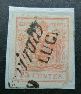 Italia Antichi Stati Lombardo Veneto Stemma Ungarico 1850 15c Usato A16P63