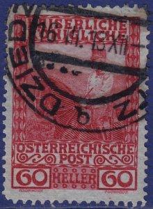 Austria - 1908 - Scott #122 - used - DZIEDZITZ pmk Poland