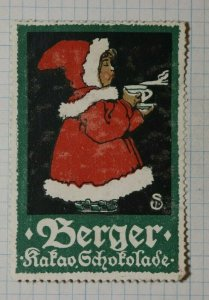 Berger Chocalate Mrs Santa Claus German Brand Poster Stamp Ads