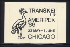 Paper Card Showing Transkei Cancel AMERIPEX '86 BoxCV0376