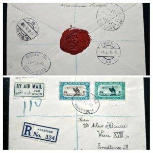 "VERY RARE SU// DAN 1936 ""REGISTERED"" HIGH VAL COVER TO AUSTRIA RECEIVING CANCEL"