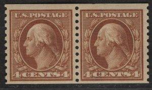$US Sc#495 M/NH/F-VF+ coil pair, Cv. $50