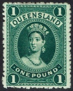 QUEENSLAND 1882 QV CHALON 1 POUND WMK CROWN/Q UPRIGHT