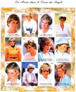 Comoro Islands 1997 Sc#813  Diana Princess Sheetlet (12) MNH