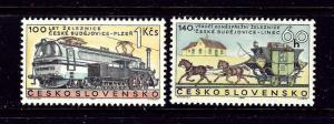 Czechoslovakia 1556-57 MNH 1968 Railroad Vehicles