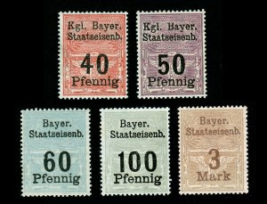 BAYER STAATSEISENB BAVARIA RAILROAD TRAIN REVENUE STAMPS 5 VALUES 1910 - MINT