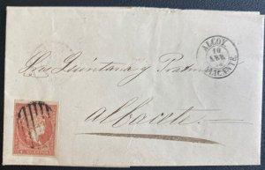 1858 Alicante Spain Letter Sheet cover To Albacete