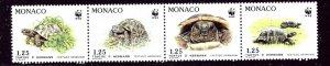 Monaco 1781a MNH 1991 Turtles strip of 4    (ap3621)