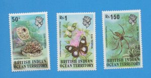 BRITISH INDIAN OCEAN TERRITORY, Sc 54-56 VFMNH Jellyfish, Spider, Butterfly 1973