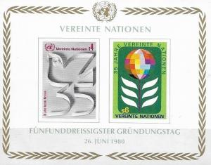 United Nations  1980 Geneva 35th Anniversary of UN Souvenir Sheet SC# 96 MNH