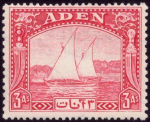 Aden 1937 3a Carmine SG 6 MH