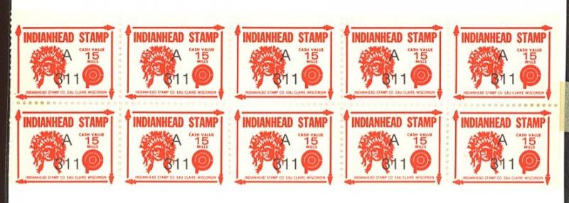 Eau Claire Wisconsin Indianhead stamps (10) MINT OG NH (4) stamps HR