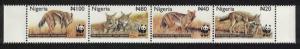 Nigeria WWF Side-striped Jackal Strip of 4v SG#809-812 MI#762-765 SC#759-762