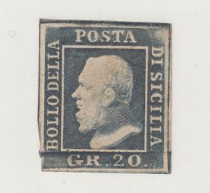Two Sicilies, Sicily Sc 17 MOG. 1859 20g dark grey violet Ferdinand II, thin