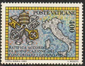 VATICAN 765, RATIFICATION OF THE CONCORDATE AGREEMENT. MINT, NH. F-VF. (457)
