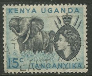 Kenya & Uganda - Scott 106 - QEII Definitive -1959 - Used - Single 15c Stamp