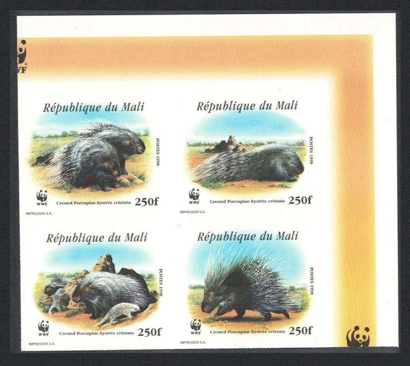 Mali WWF Crested Porcupine Top Right Imperf Block of 4 SC#918 a-d MI#1974-1977