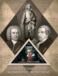 TOGO 2013 SHEET GREAT GERMAN AND AUSTRIAN COMPOSERS BEETHOVEN tg13411b
